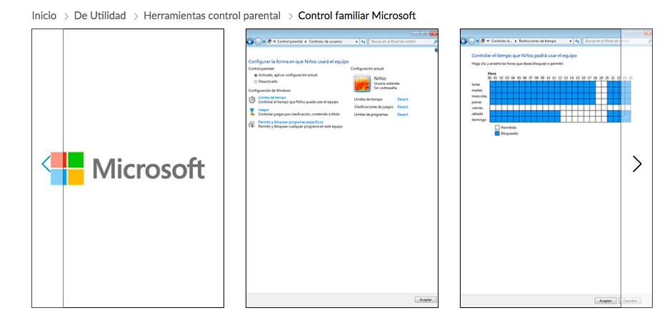 Herramienta control parental Microsoft