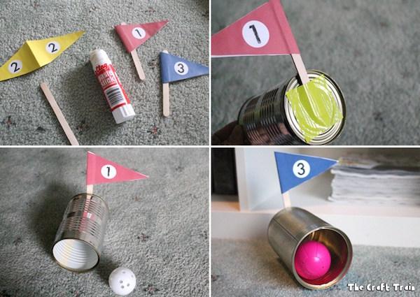 Mini golf casero con latas